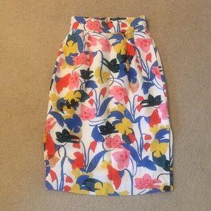 J Crew Tropical Pencil Skirt